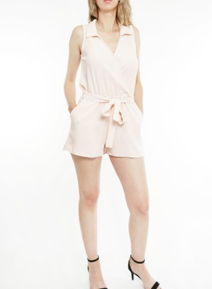 Sleeveless collared over-lapping front 2-front pockets tie-waist romper. BNV-R22992-Peach