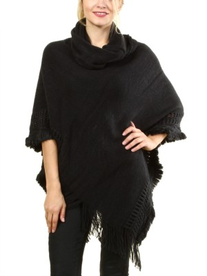 Poncho sweater with ruffled collar FH-B1480-BLACK