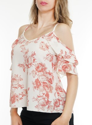 Cold-shoulder flare-sleeves floral top. BT-1984P-WhitePeach