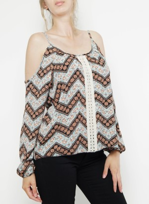 Cold-shoulder long sleeves printed crochet-detail top. Bt-2164P- Blue Black