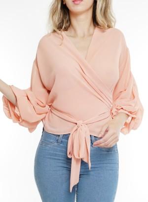 Ruffled long-sleeves tie-waist wrap chiffon top. BT-2254-Peach