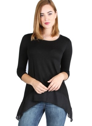 Quarter sleeve round neck long sleeve solid color top with sharkbite chiffon hem. WH-BT1802-BLACK