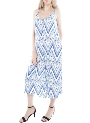 Sleeveless Back V-Neck Side-Pocket Wide-Leg  Jumpsuit. CD2204-04V-Blue/White