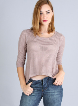 Quarter sleeves, round neckline,  partially hi-low knitted top FH-CO1H3533-MOCHA