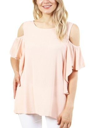 Women's short sleeve cold shoulder top with round neck collar. FH-MT7WC4BCU1-PEACH