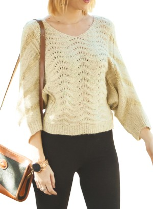 Funky mix colors Dolman Wool Sweater.  BKEJ6272-OATMEAL