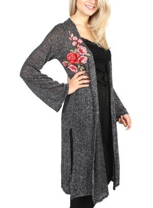 BLACK METALLIC W/PATCH OPEN CARDIGAN. CT4241S-BLACK