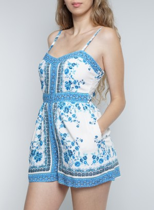 Sleeveless Tie-Back Side-Pocket Floral Romper. CX0827-60Y-Blue/White