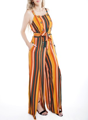 Striped Double-Breasted Slit Wide-Leg Jumpsuit CXB0924-166A-Multi