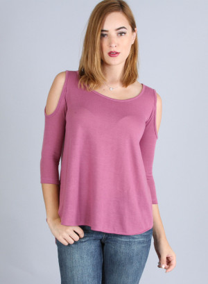 Round neck, quarter sleeve top with cold shoulder and round hi-low hem-DB-1210-MAGENTA