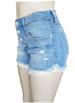 DISTRESSED WOMEN'S HIGH RISE SHORTS WITH CROCHET HEMLINE.F16860407-LIGH WASH