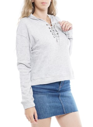 Long Sleeve Tie-Up Front Hooded  Crop Sweater. DN1066-Grey