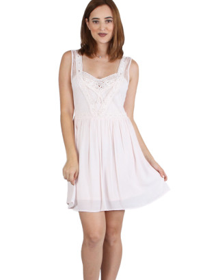 Sleeveless V-neck, V-back crochet lace bodice skater dress with lining, zip back closure-WH-DS41099-BLUSH