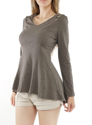 V-neckline long sleeves  braided-shoulder swing hi-low top ET62636-Grey