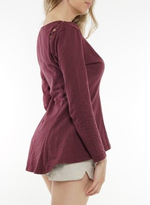 V-neckline long sleeves  braided-shoulder swing hi-low top ET62636-Plum