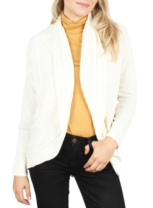 Knitted Open Cardigan.F11-036- IVORY