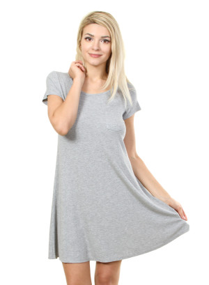 Short sleeve dress with scoop neck collar and a pocket on left chest. WH-F16991400-GREY