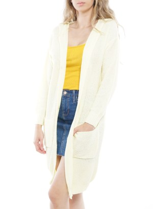 Long Sleeve Front-Pockets Button-Down Hooded Cardigan. FD2612-Yelow