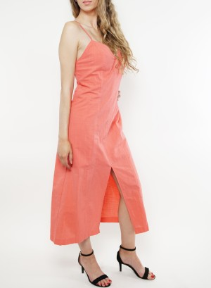 Spaghetti-adjustable-straps, zip-closure back featuring a slit-front linen midi dress. Fl19C853-Coral