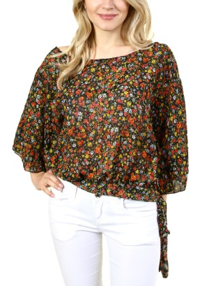 WOMEN'S FLORAL POLY TOP. FH-TA15463-MULTICOLOR