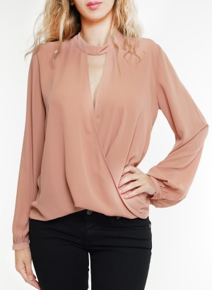 Chocker cut-out long sleeves wrap top. G9130-Mauve