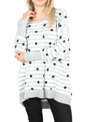 Long Sleeves Polka Dot/Stripe  Sweatshirt. LC-139852-Grey/White Black