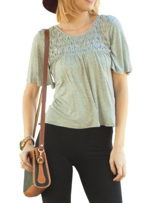 Short flare-sleeves partially hi-low with Lattice-detail front top. 0013-Grey