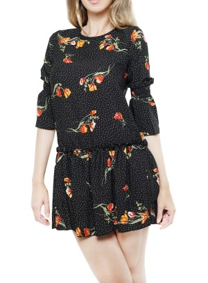 Three-quarter sleeves tie-back floral tunic top. HF042228G-Black Floral