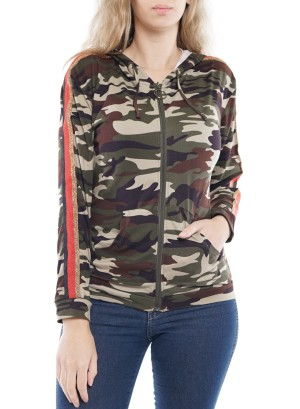 Long Sleeve Stripe-Side Zip-Front Hooded Sweater. HIT2374-Camo