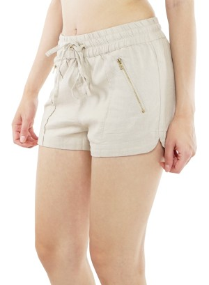 Side pockets  drawstring  waist shorts. HSP6177- Khaki