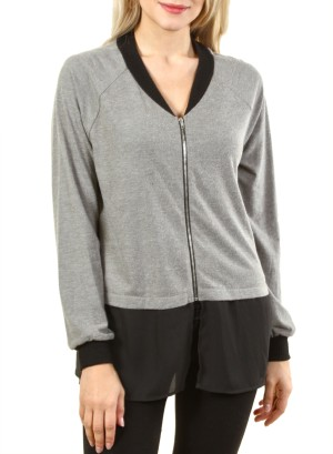 Long sleeve zip up top with bomber jacket collar and two split hems on bottom FH-HT5476-GREY