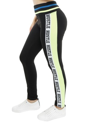 "Banded waistline ""Hustle"" print stripe-side active leggings. 45184R21B-Black-Neon Green"