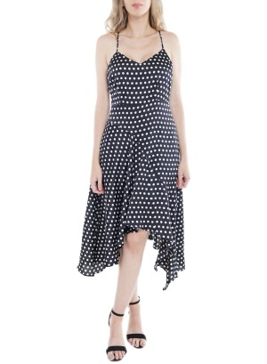 V-Neck Spaghetti Criss-Cross Zipper-Back Polka Dot Dress IDD74419-Black/White