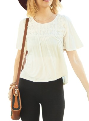 Short flare-sleeves partially hi-low with Lattice-detail front top. 0013-Ivory