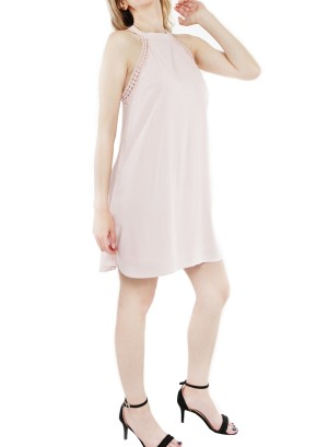 Sleeveless with crochet-trim fully-lined shift dress J12358MB88-Pink