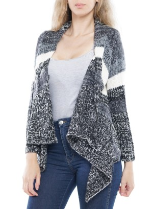 Long Sleeve Flare Asymmetrical Open Cardigan. J14013-Black/Grey