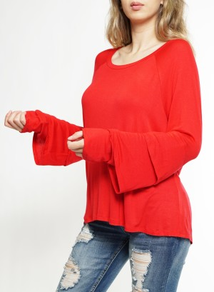 Layered LS Round Neck Top J1688TS-RED