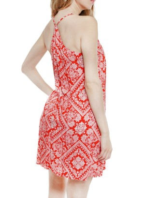 Adjustable Spaghetti Straps racerback floral printed shift dress J2988RAFQ-Red floral