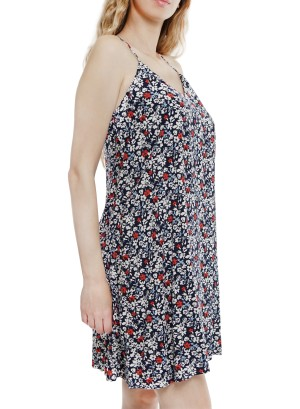 Adjustable Spaghetti Straps racerback floral printed shift dress J2988RAFQ-Navy floral