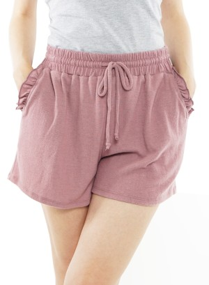 Drawstring waist ruffled side pockets shorts. J72561MSARH-Mauve