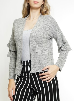 Layered Flare Sleeve Open Cardigan JCF7K18H-Grey
