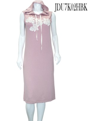 Drawstring-hoodie, flower embroidery sleeveless slit-sides midi dress. JDU7K02HBK-PINK