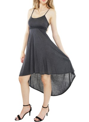 Adjustable spaghetti straps  crochet -detail empire waist hi low  dress. KC0042-GREY