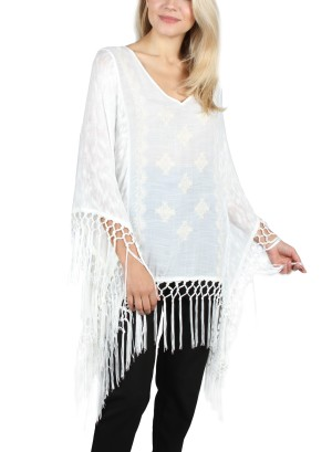 PONCHO WITH FRINGES. KNT018303-IVORY