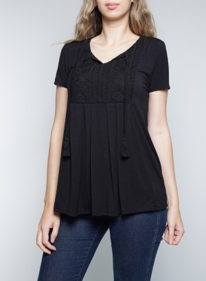 Short Sleeves Tie-Front Lace Detail Top. KNT024989-Black
