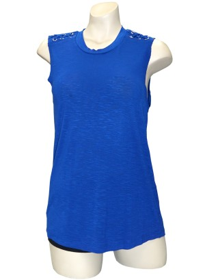 Sleeveless braided-shoulder burn-out top.LA5060UC1-ROYAL BLUE