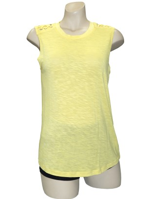 Sleeveless braided-shoulder burn-out top.LA5060UC1-YELLOW