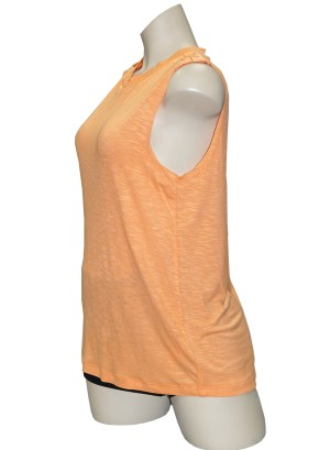 Sleeveless braided-shoulder burn-out top.LA5060UC1-PEACH