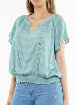 Flare sleeves bottom-banded crochet-detail v-neck top. LB345767U-Sage