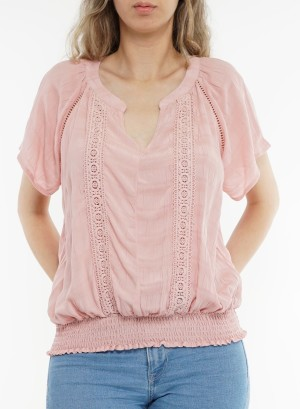Flare sleeves bottom-banded crochet-detail v-neck top. LB345767U-Blush